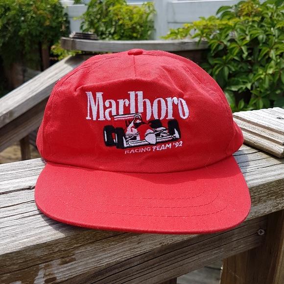 1e4fd14bd2a48 Vintage 90s Marlboro Cigarettes Racing Dad Hat Red.  M 5b2ff9ddd6dc5260a1781ed2